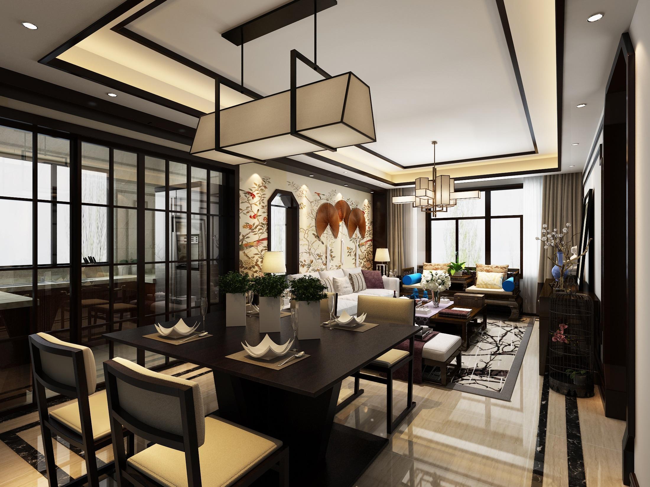 客餐厅一体新中式装修效果图,中式风格客餐厅一体效果图