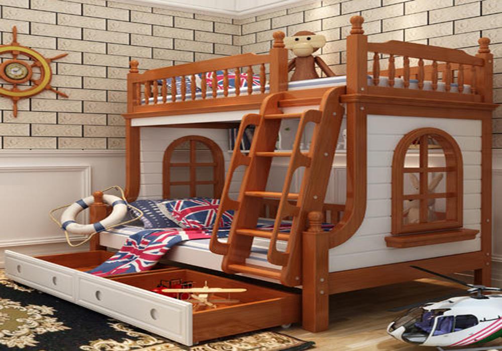 儿童房上下床房间装修效果图,小面积儿童房装修效果图双层床