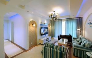 小客廳地中海裝修效果圖欣賞,地中海壁紙客廳裝修效果圖欣賞