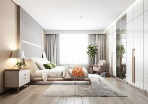 床头柜壁灯装修效果图,床两边不放床头柜装修效果图