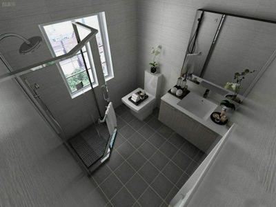 卫生间贴灰色地砖装修效果图,卫生间的灰色地砖效果图大全