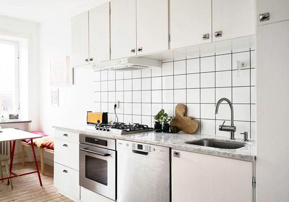 2.7米一字型小厨房装修效果图,北欧一字型厨房装修效果图