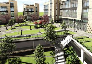 工厂办公楼前绿化效果图,工厂办公楼门前绿化树效果图