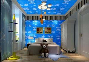 儿童房蓝色壁纸装修效果图,双儿童房壁纸装修效果图