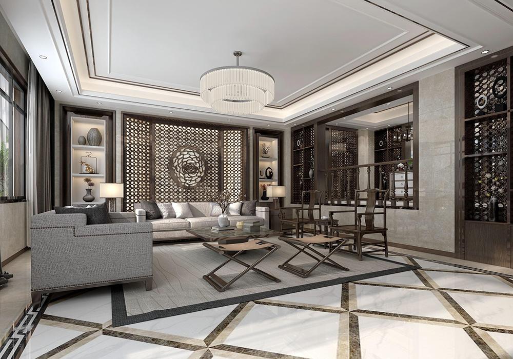 新中式别墅大理石背景墙装修效果图