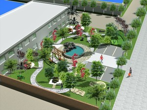 工厂门口绿化效果图,工厂门口绿化设计效果图