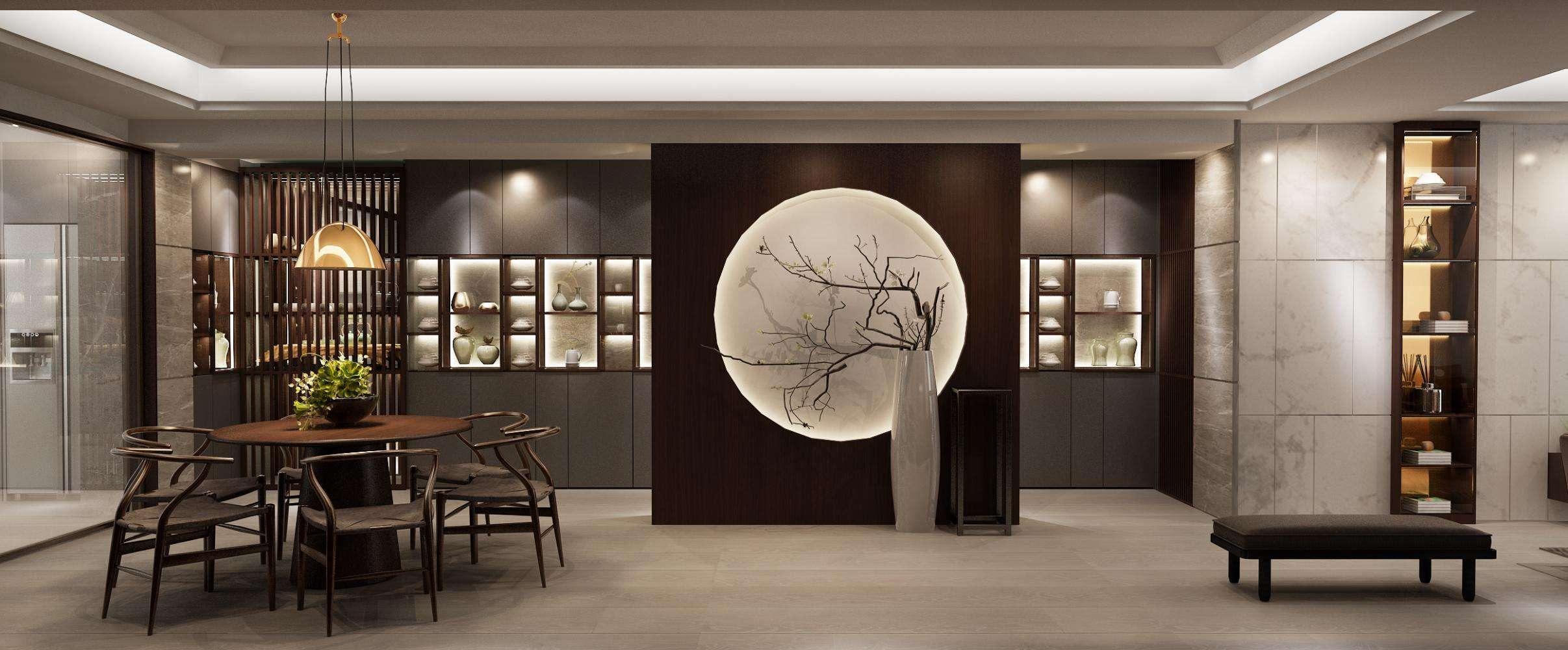 客餐厅一体中式装修效果图,新中式客餐厅一体玄关效果图
