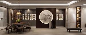 客餐廳一體中式裝修效果圖,新中式客餐廳一體玄關效果圖