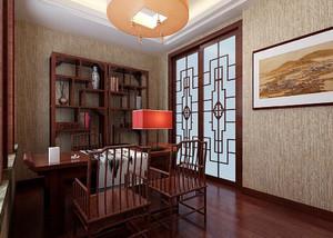 中式裝修臥室帶書房效果圖,中式復古裝修效果圖套圖