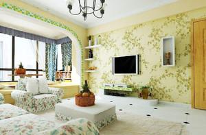 鄉村田園風客廳裝修效果圖,40平歐式田園風格裝修效果圖大全