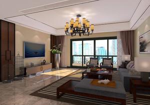 中式簡約裝修客廳電視背景墻效果圖,中式復式樓客廳電視背景墻裝修效果圖