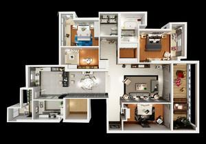 三室一厅足彩导航效果图,三室一厅户型图