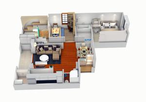 三室一厅一厨一卫足彩导航效果图片,100平三室一厅户型图
