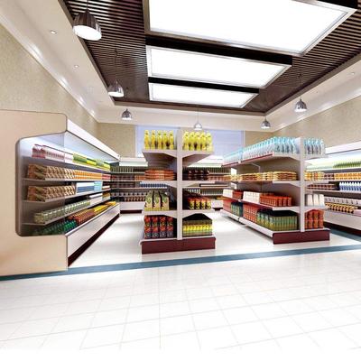 小超市吊顶格栅装修效果图,装修超市房子吊顶效果图
