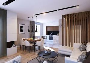 小戶型客廳和廚房一體簡約風格裝修效果圖