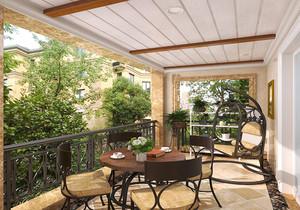 中式生态木阳台吊顶效果图,阳台生态木与实木吊顶效果图