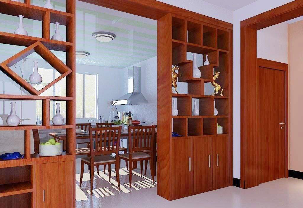 木工做的餐厅和客厅隔断柜效果图,客厅与餐厅隔断柜设计效果图