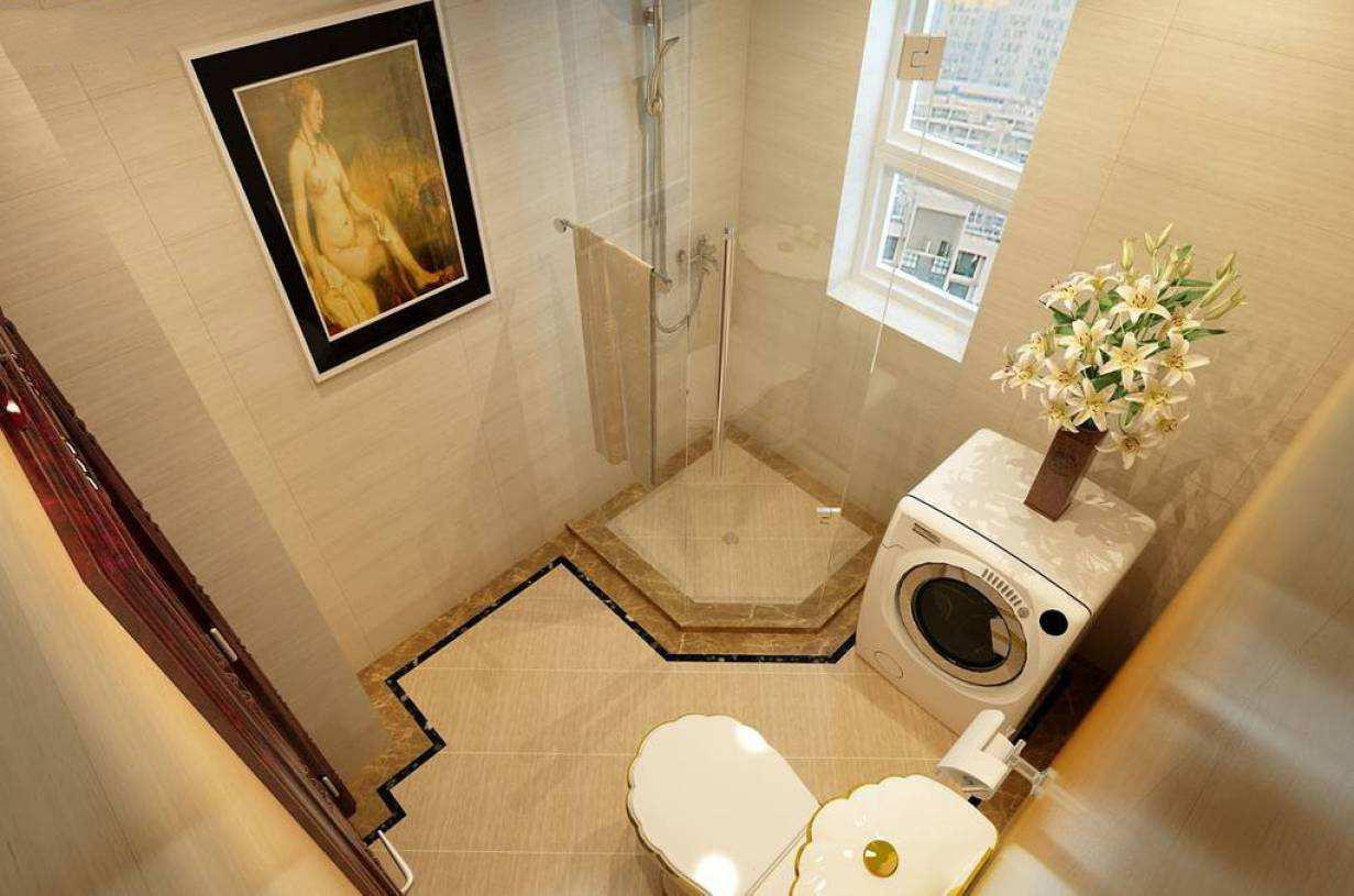 卧室有洗手间装修效果图,美式主卧室洗手间装修效果图