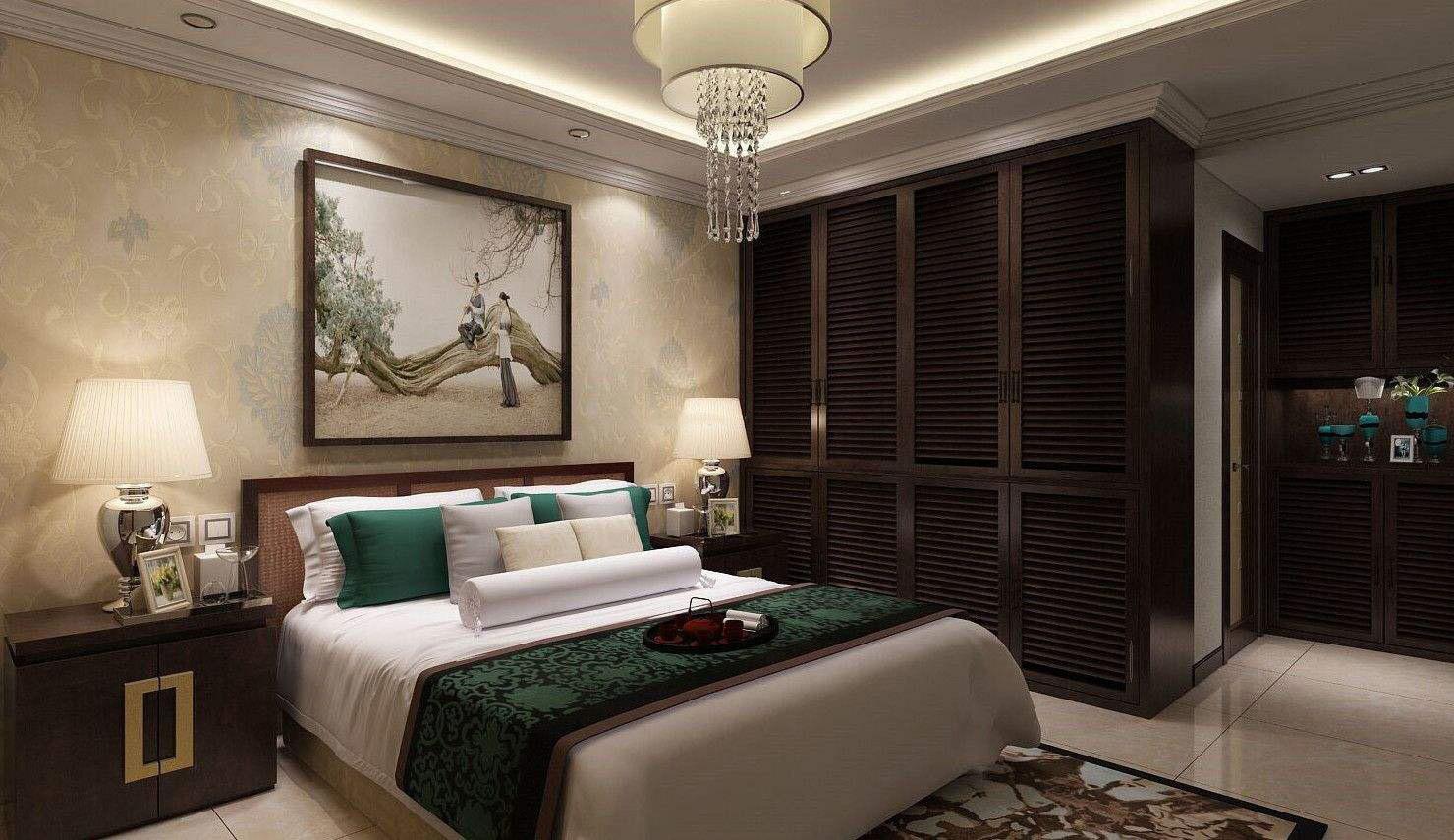 现代中式风格卧室顶装修效果图,现代中式卧室装修风格效果图
