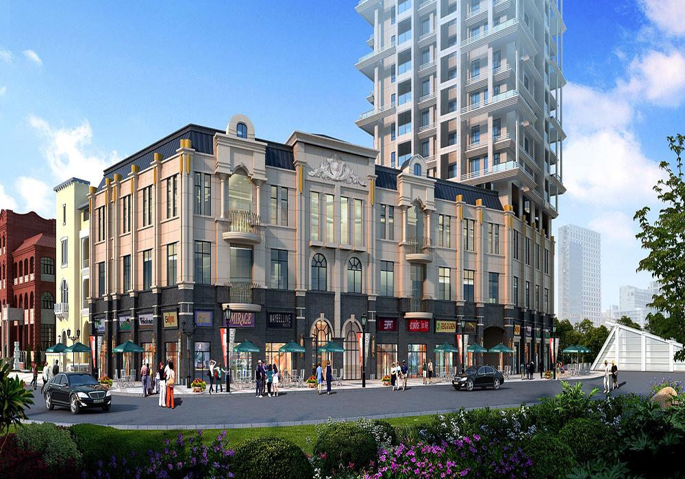 临街一层商铺二层住人的房效果图,一层做商铺的楼房设计效果图