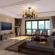 客厅中式电视墙一居室装修