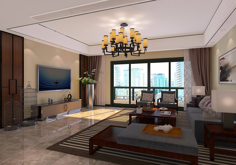 新中式客厅装修电视背景墙效果图,新中式装修挑高客厅电视背景墙效果图