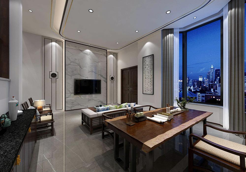 电视墙小户型新中式装修效果图大全,大理石新中式电视墙装修效果图大全