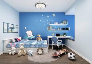 美式主卧蓝色背景墙装修效果图,美式装修主卧效果图