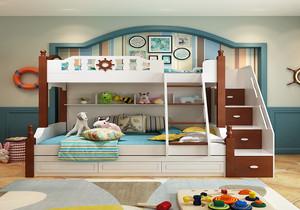 儿童房上下铺壁纸装修效果图,卧室儿童房上下床装修效果图大全