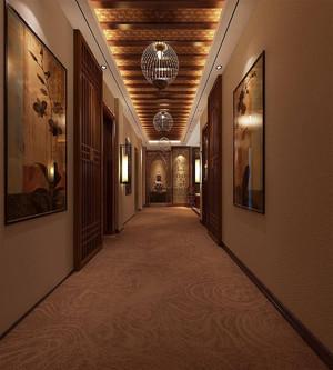 耳道养生会所装修复古效果图,养生会所走廊吊顶装修效果图