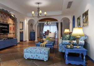 美式地中海客厅装修效果图欣赏,地中海小客厅装修效果图欣赏