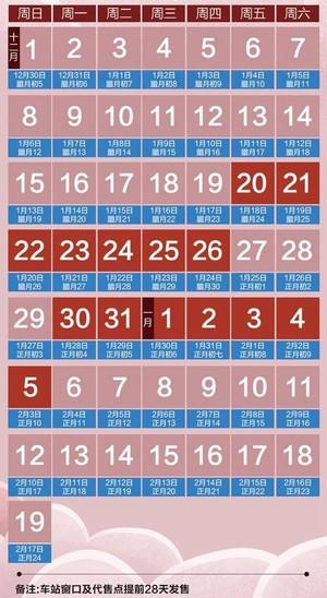 2020春运购票日历, 2020春运放票时间