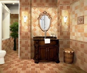 中式仿古砖卫生间装修效果图,深色仿古砖卫生间装修效果图
