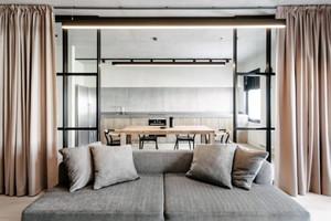 客厅厨房窗帘装修效果图,用窗帘当做厨房门装修效果图