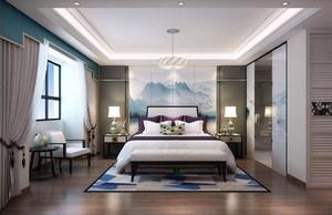 现代卧室中式装修效果图2019,现代中式卧室阳台效果图
