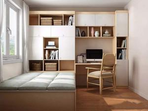 榻榻米床加小书房装修效果图大全,中式小书房榻榻米效果图