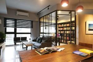 客厅与书房隔断墙装修效果图,书房与客厅半隔断装修效果图