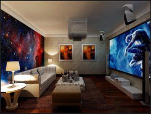 50平米客厅投影装修效果图,客厅投影墙面装修效果图
