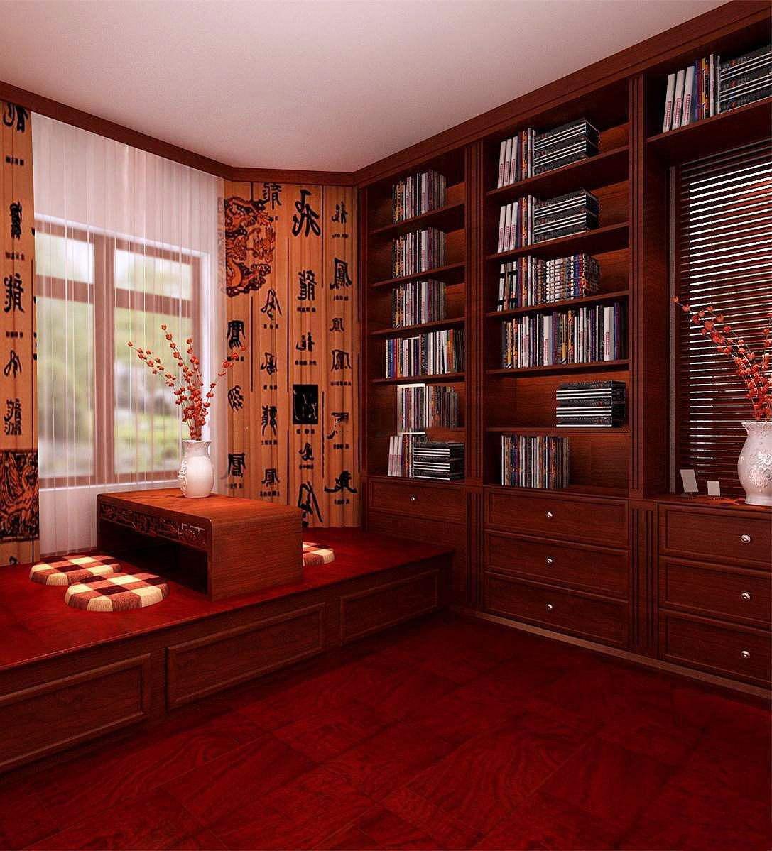 现代中式榻榻米装修效果图欣赏,中式书房榻榻米装修效果图
