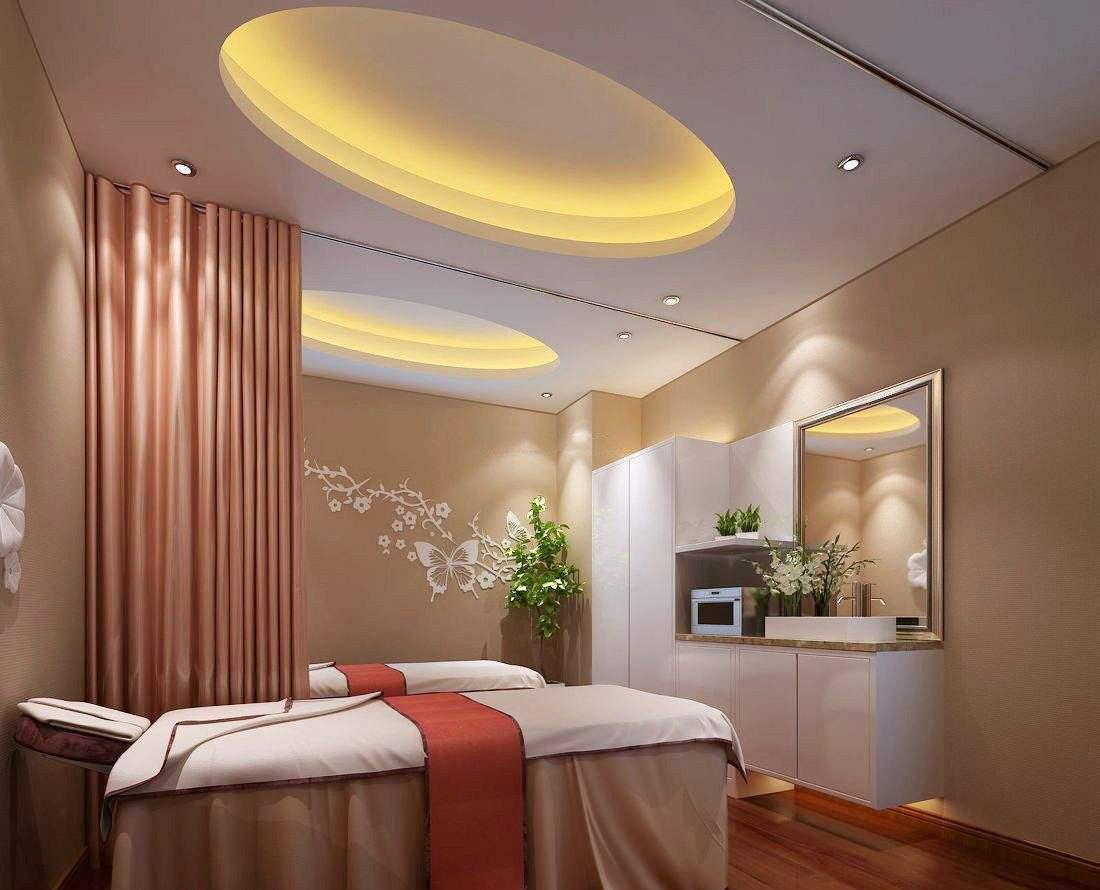 温馨浪漫美容院装修效果图,80平米美容院装修效果图