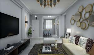 简欧客厅吊灯饰效果图,客厅吊灯与筒灯灯光效果图