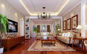 家庭新中式客厅装修效果图,家庭客厅装修灯具效果图大全