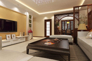客厅石膏线电视墙效果图,中式客厅石膏线效果图