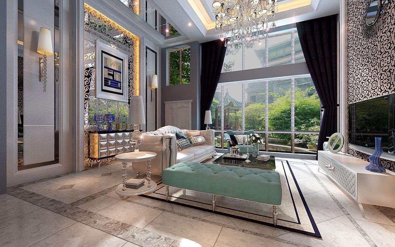 复式楼客厅吊灯效果图,现代简约客厅吊灯效果图