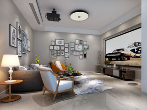 客厅家庭影院装修效果图,现代简约风格客厅效果图