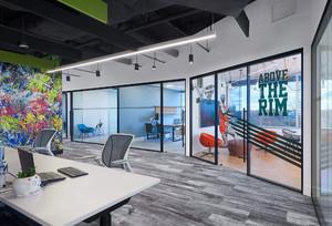 上海企业办公室装修设计,董事长办公室装修实景图