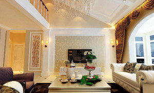 現代風格復式樓客廳效果圖,現代風格墻紙客廳效果圖