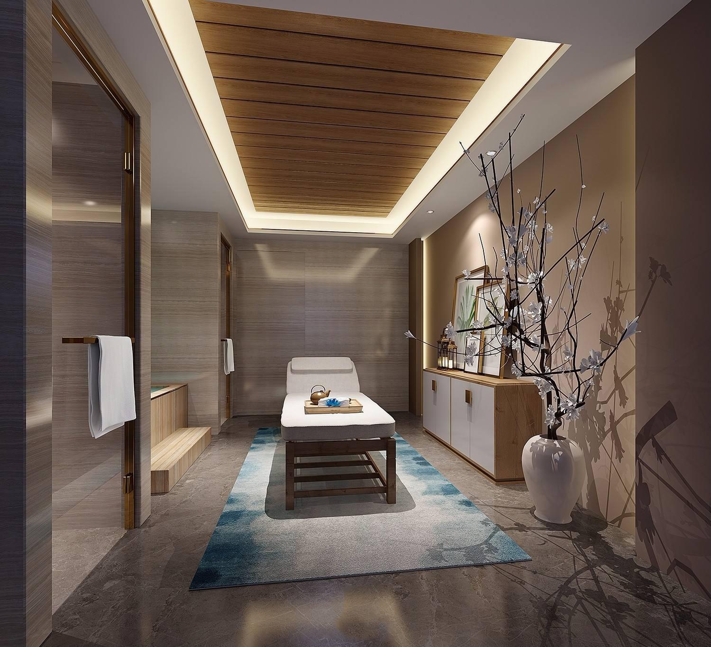 新中式禅意美容院装修效果图,20平方左右美容院装修效果图