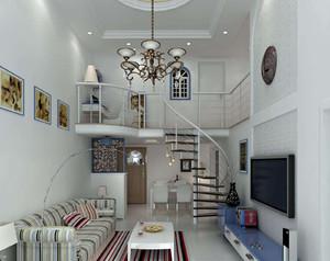 复式楼客厅装修实景图大全,家庭客厅旋转楼梯装修效果图