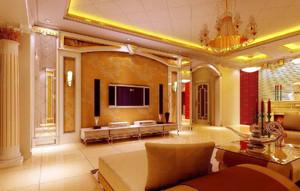 法式家居客厅装修效果图,家装客厅电视墙设计效果图